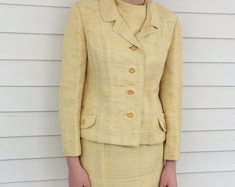 60s Yellow Suit Vintage 1960s 3 pc Jacket Skirt Set Daffodil 38 Bust M L