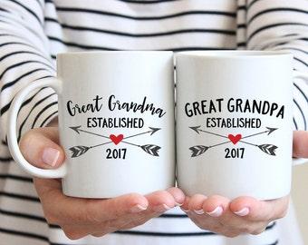 Great Grandparents Pregnancy Announcement New Great Grandparent Gifts Pregnancy Reveal Great Grandparents Mug Great Grandma Mug Custom Arrow