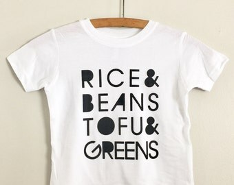 Rice and Beans, Tofu and Greens, Kids Tshirt, Vegan, Vegetarian, Screen Printed Clothing