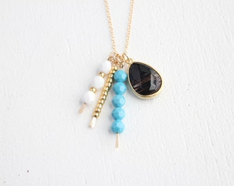 Long Cluster Necklace - Emery - 30 inch