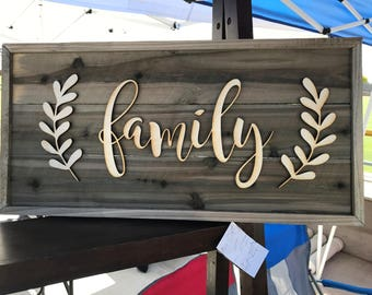 Rustic Wooden sign made from faux Barn Wood Barnwood Family  bw06