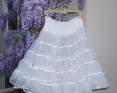 White Full Crinoline Petticoat / Vintage Malco Modes Crinoline Slip / Square Dancing Tutu - Partners Please