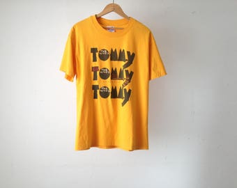 vintage the WHO 90s broadway play TOMMY yellow tour t-shirt CLASSIC rock invasion music band shirt