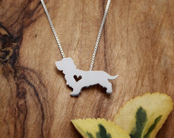 Wire Haired Dachshund necklace, tiny sterling silver hand cut pendant with heart, tiny dog breed jewelry