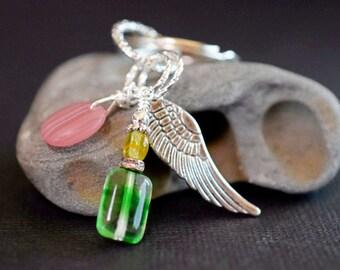 Angel Wing Keychain Angel Keychain Charm Keychain Czech Glass KeyChain Pink & Green Key Chain Silver Ring USB Thumb Carrier Birthday Gift