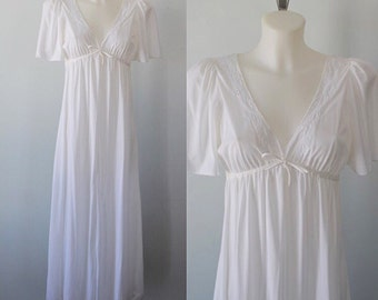 Vintage Nightgown, Vintage White Nightgown, Her Highness, 1980s Nightgown, Nightgown, Vintage Lingerie
