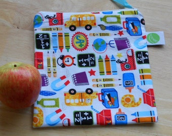 """Reusable Sandwich / Snack Bag - 7.5"""" x 7.5""""- Certified Food Safe PUL lined, Zippered, Machine Washable"""
