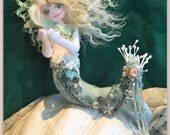Crystal Princess OOAK Mermaid Art Doll Soft Sculpture Cloth Flourite Crystal
