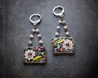 Enamel Flower Earring Chandelier Vintage Assemblage Rosary Chain Rose Crystal Pink Yellow Purple Rhinestone Silver Rectangle Dangles Retro