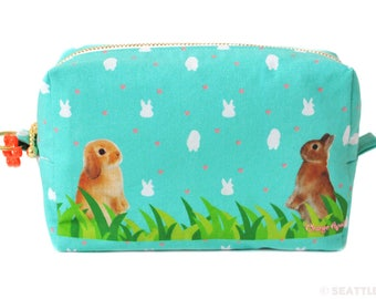 Orange Apollo's Box / Square Zipper Pouch for Bunny Lovers (Bunnies Standing Up, Turquoise)