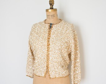 Vintage Sequin Cardigan - 60s Sparkle Sweater - The Celine