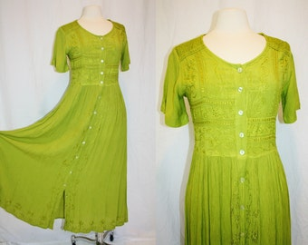 1990's Lime Green Dress Bobho HIppie Small Short Sleeves Kiwi Rayon Vintage REtro 90s Embroidery Crinkled Babydoll