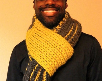 Citron Yellow and Grey Chunky HandKnit Scarf long scarf for men, ready to ship