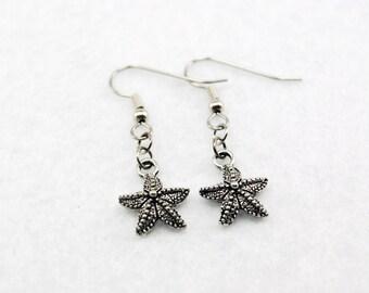 Silver Starfish Earrings - Silver Sea Star Earrings. Mermaid Earrings.