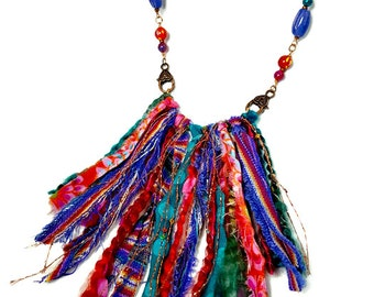 Tribal Statement Necklace, Long Boho Necklace,  Jewel Tones, Colorful Necklace, Fabric Jewelry, Upcycled, Artsy, Fiber Art