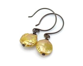 Golden Pearl Bronze-colored Niobium Earrings, Hypoallergenic No Nickel Earrings for Sensitive Ears, Gold Coin Pearl Earrings Niobium Jewelry