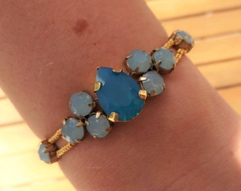 Blue Turquoise and Gold Swarovski Crystals Bracelet