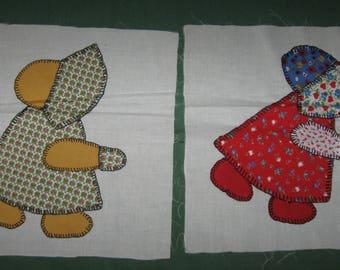 2 Vintage Sunbonnet Sue Quilt Blocks Pieces Hand Sewn Embroidered