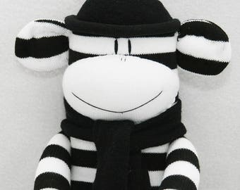 Monochrome Sock Monkey,  Black and White Baby Toy