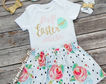 First Easter Outfit, Floral Easter Skirt with Matching Headband; Baby Girl Easter Outfit; My 1st Easter Onesie with Skirt; Glitter sandals