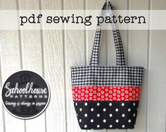 Patchwork Tote Bag handbag purse diaper bag - sewing tutorial pattern - PDF INSTANT DOWNLOAD