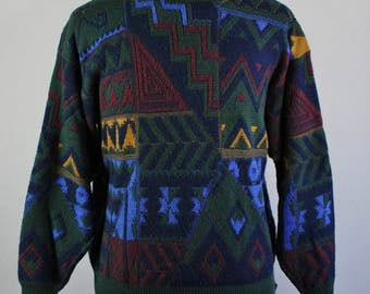 Mens Pullover Sweater. Tribal Sweater. Multi Color Sweater. Fall Spring Sweater. Vintage. Size Large. GOGOVINTAGE