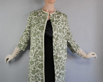 Vintage 1950s 50s Sage Green Cream Floral Spring Dress Coat Jacket, vlv, Viva las vegas, Mad Men, Wedding Guest, Easter, Size Large