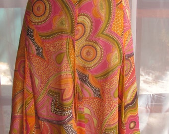 Dana Buchman - Psychedelic oranges and hot pinks silk crepe skirt