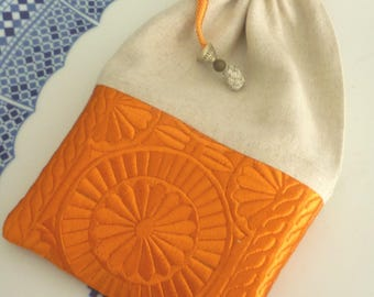 Moroccan bag,  drawstring pouch,  Moroccan embroidered fabric, linen summer purse / bag , orange