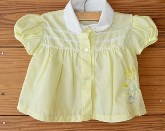 1950s baby girl yellow blouse / infant sweet embroidered summer shirt / 9-12 months