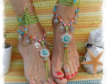 Boho GREEN Barefoot Sandals with Turquoise FLOWER Hippie FESTIVAL sandal Tree charm Statement colorful foot wear crochet foot jewelry GPyoga