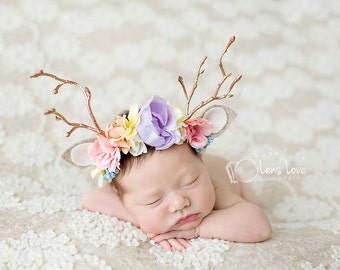 delighted  springtime newborn fawn deer woodland antler crown halo floral headband prop