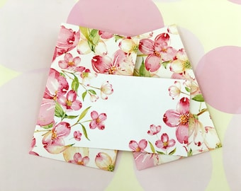 Personalized Floral Mini Cards, Gift Enclosure Card, Mini Cards and Envelopes, Gift Card Holder, Set of 10