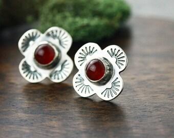 Carnelian and sterling silver handstamped stud earrings- red stud earrings- Native American studs- Sun stud earrings- Cross stud earrings