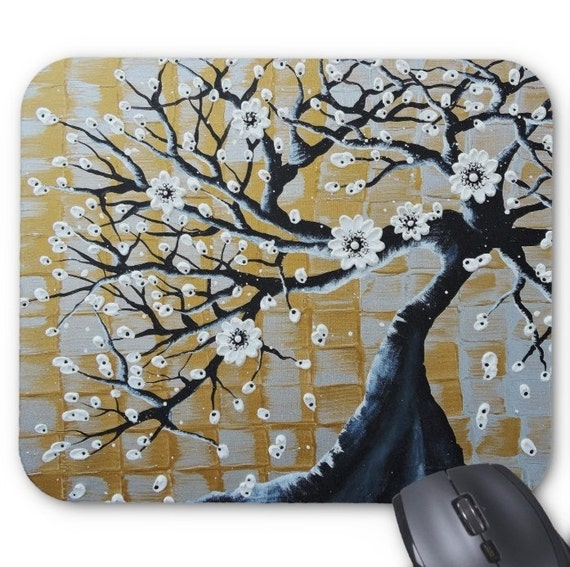 Mousepad Mouse Pad Fine Art Painting Abstract Tree Asian Fine Art Contemporary Modern 'Flowering Bonsai Tree' Silver Gold White Original Art