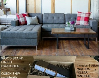 Loft Style Reclaimed Wood Coffee Table. Finish/stain sample kit to try B4 you buy