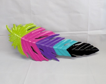 Colorful Bohemian Metal Feather - Feather Wall Hanging - Feather Wall Decor - Feather Wall Art