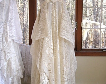 Size medium 10-12 Floor length creamy ivory bohemian boho gypsy hippie wedding dress, formal dress, floor length, 35-37 inch bust