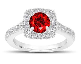 1.28 Carat Fancy Red Diamond Engagement Ring, Wedding Ring 14K White Gold Halo Pave Certified Handmade