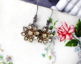 Altered Metal Earrings   Vintage Reja Rhinestone Flower Starburst    Gold Tone FloralDrops   Oxidized Retro Age Worn   Sterling Silver Wires