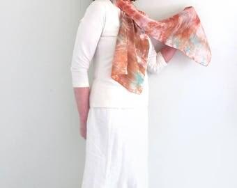 100% Silk Scarf, Hand-dyed , Shibori technique, Peach, Warm Beige, Mocha,Rust, Perfect For Summer or any season