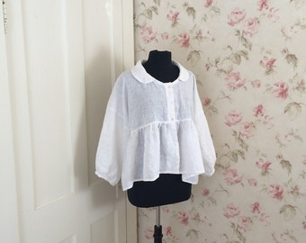 Soft White Linen Layering Top Jacket Romantic Puff Sleeve Baby Doll Peter Pan Collar Lagenlook Asymmetric Lightweight Linen