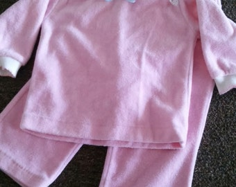 1970s retro Health-tex size 12 months top & pants set - pink velour, snap shoulder, long sleeve, lace, bow details