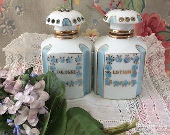 Vintage Lefton Dresser set Bottles Perfumes  Rare Deco style Blue Lotion Cologne