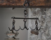 French Hand Forged Iron Butchers Hooks Kitchen Hooks Hanging Saucepan Rack