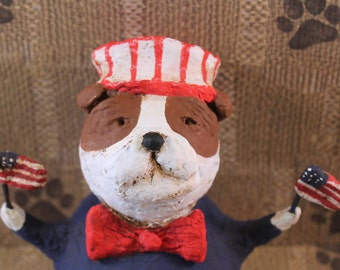 Primitive Uncle Sam BULLDOG, OOAK, hand-sculpted from papier mache,Uncle Sam Bullie with Flags