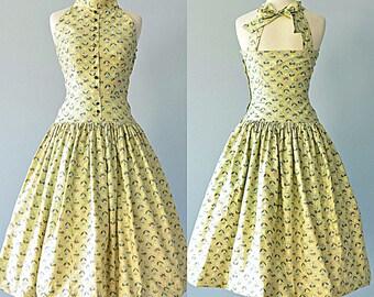 Vintage 1950s Sundress...KABRO OF HOUSTON  Cotton Novelty Print Sundress
