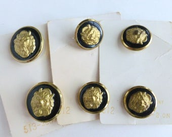 """Lion King Brass Tone Metal and Black Enamel Shank Buttons Lot 3/4"""" and 7/8"""" Diameter Sizes 28 and 36 Unused on Cards NOS"""