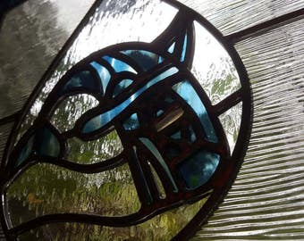 Stained Glass Orca in Blue - Coastal Tribal Design Killer Whale
