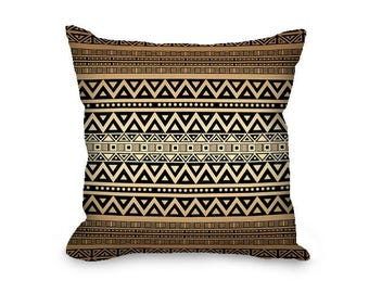 Throw Pillow Cover, tribal pillow, boho pillow, bohemian decor, hippie pillow, decorative pillow, brown pillow, tan pillow, bohemian pillow